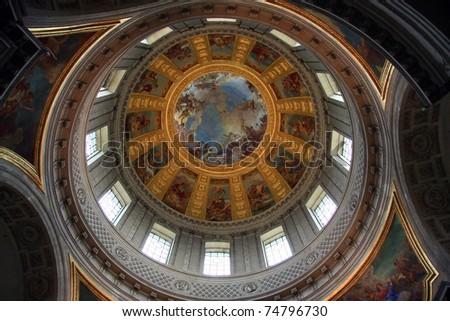 The dome of Napoleon's Tomb. Invalides, Paris, France. - stock photo
