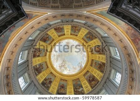 The dome of Napoleon's Tomb. Les Invalides, Paris, France. - stock photo