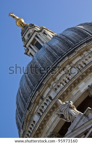 The dome of St Pauls Cathedral in Central London, uk