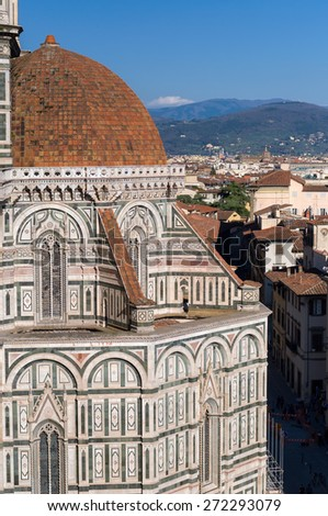 The dome of the Basilica di Santa Maria del Fiore (Basilica of Saint Mary of the Flower). View from Giotto's Campanile. Florence, Tuscany, Italy. - stock photo