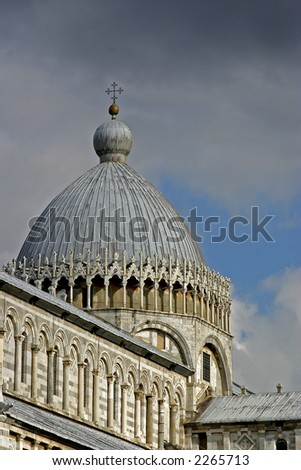 The dome of the Cathedral at Piazza dei Miracoli, Pisa,Italy.