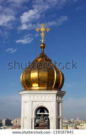 The dome of the Christian church with a cross - stock photo