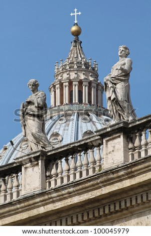 The dome of the famous St. Peter's Basilica in Rome, Italy. - stock photo