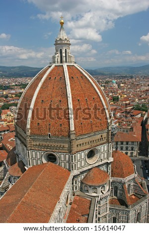 The dome of the Florence Duomo (Florence, Italy). View from above