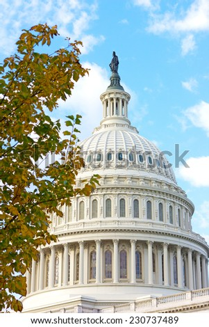 The dome of US Capitol building in Washington DC. The view on the eastern side of the Capitol in the autumn morning.  - stock photo