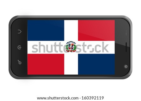 The Dominican republic flag on smartphone screen isolated on white - stock photo