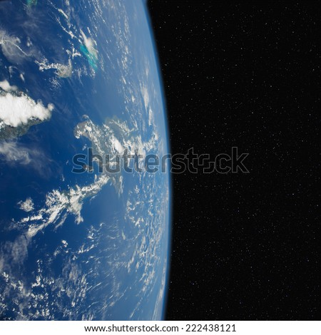 The Dominican Republic in space. Elements of this image furnished by NASA.  - stock photo