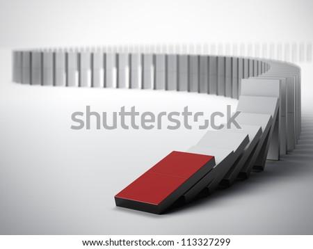 The domino effect - stock photo
