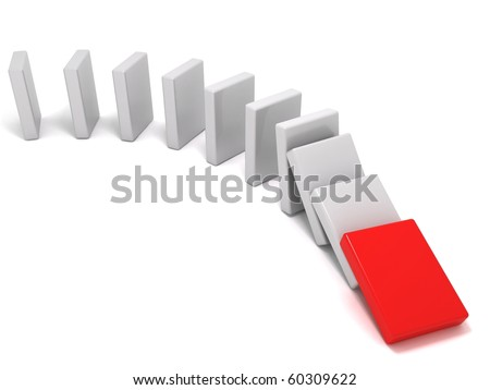 The domino effect - stock photo