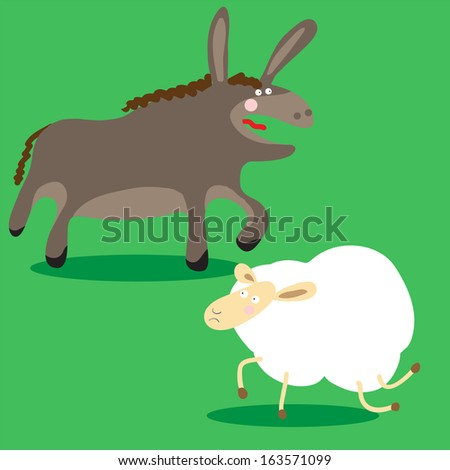 The Donkey and the sheep - stock photo
