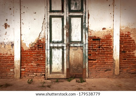 The door and old brick wall background.