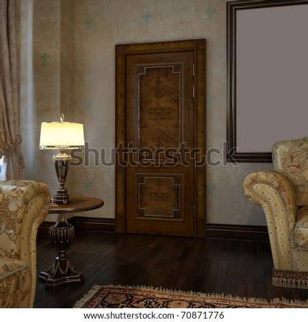 The door at interior of living room. - stock photo