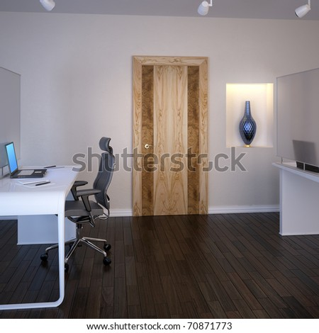 The door at interior of modern office - stock photo