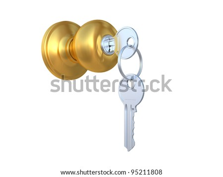 The door handle with the lock and a key the isolated image on a white background