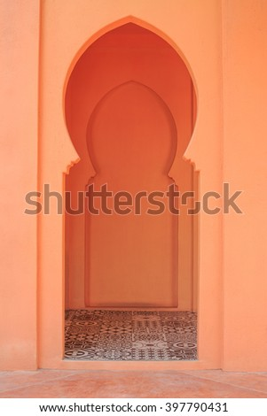 The door is designed in contemporary Egypt. - stock photo