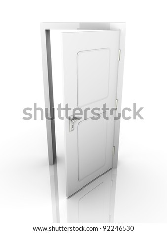 The Door is open for you... 3D rendered Illustration. Isolated on white. - stock photo