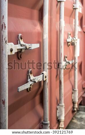 The door of cargo containers - stock photo