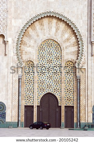 The door of the Mosque of Hassan II in Casablanca, Morocco - stock photo