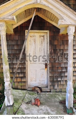 The doorway to an old rustic 19th century house