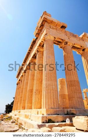 The Doric temple Parthenon at Acropolis hill. Athens, Greece. - stock photo