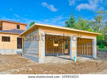 Double garage stock images royalty free images vectors for Construction garage double