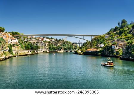 The Douro River in Porto, Portugal. Porto is one of the most popular tourist destinations in Europe. - stock photo