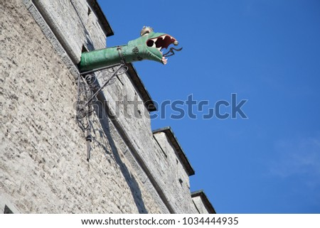 The downpipe in the form of a green dragon at the Town Hall in Tallinn