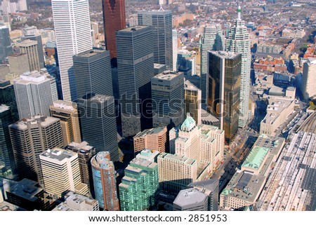 The downtown Toronto core seen from just above Union Station on Front Street. - stock photo