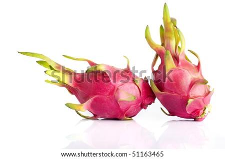 The Dragon Fruit is also known as pitaya, pitahaya, huo long guo, strawberry pear, nanettikafruit or Thanh Long. - stock photo