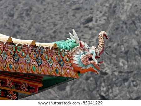 The dragon on the roof of the Tengboche Monastery - Nepal - stock photo