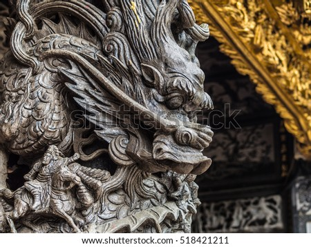 The Dragon sculpture. Beautiful and valuable. beautiful and valuable statue.