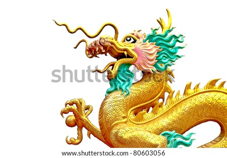 The Dragon status isolated on white background - stock photo