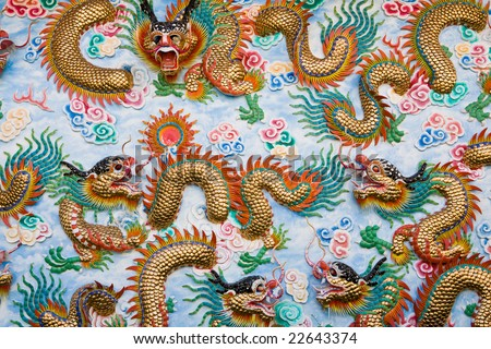 The dragon wall in temple of Chonburi Thailand