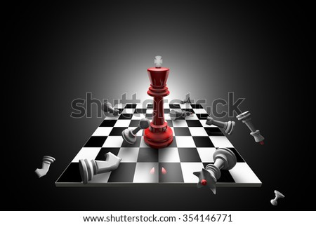 The dramatic art of chess composition. Artistic dark background. 3D-image.  - stock photo