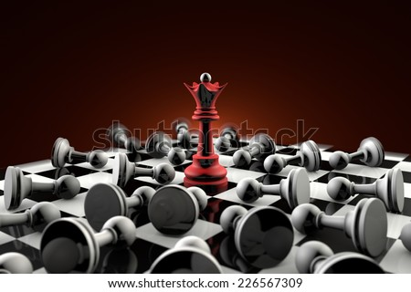 The dramatic art of chess composition. Queen (red) and gray pawn. Artistic dark background. 3D-image.