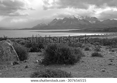 The dramatically rugged landscape of Torres Del Paine, Patagonia, Chile - stock photo