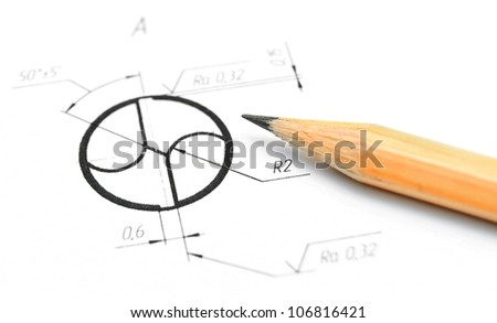 The drawing and pencil . - stock photo