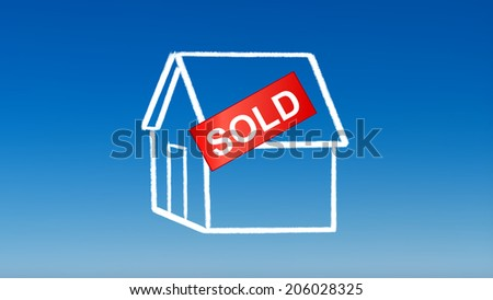 the drawing of house sold for investment concept with blue sky background - stock photo