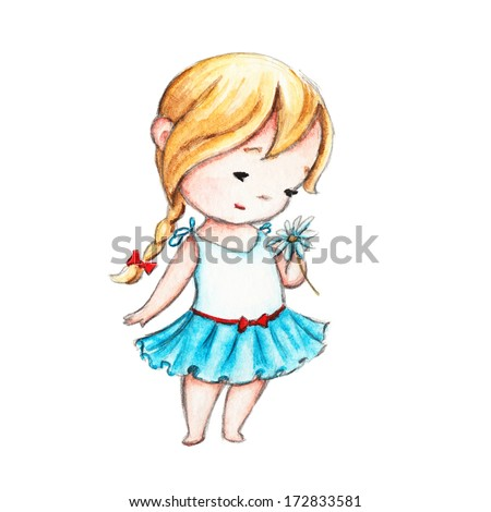 The Drawing of Little Girl with a Daisy - stock photo
