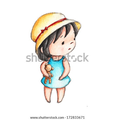 The Drawing of Little Girl with Teddy Bear - stock photo