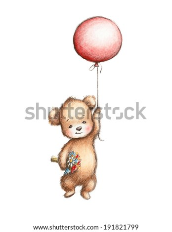 The Drawing of Teddy Bear with Red Balloon and Flowers - stock photo