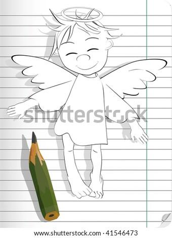 the drawn angel - stock photo