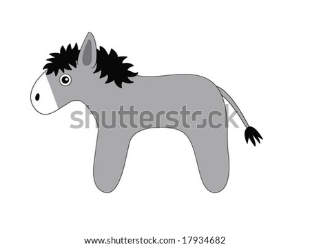 The drawn grey toy donkey - stock photo