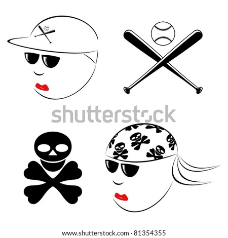 The drawn heads of the baseball player and the biker on a white background.EPS version is available as ID 77781259. - stock photo
