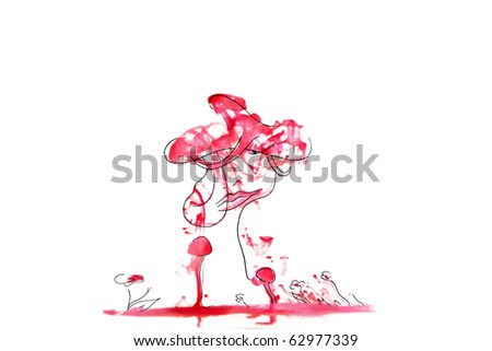 the drawn portrait of a woman with a hat surrounded with flowers and mushrooms against an abstract red background isolated on white - stock photo