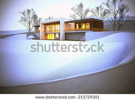 The dream house. Winter time. - stock photo