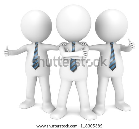 The Dream Team. 3D little human character the Business Man x3 in a Confident pose. People series.