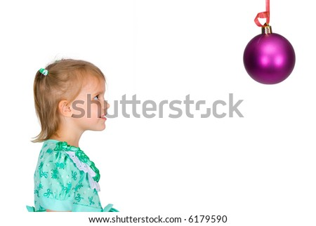 The dreaming girl looks upwards on an isolated background - stock photo