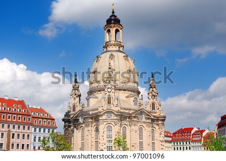 The Dresden Frauenkirche (German: Dresdner Frauenkirche, literally Church of Our Lady) is a Lutheran church in Dresden, eastern Germany. - stock photo