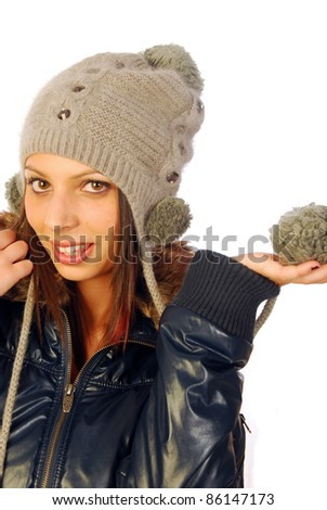 The dress of this beautiful woman tells us that winter is coming - stock photo